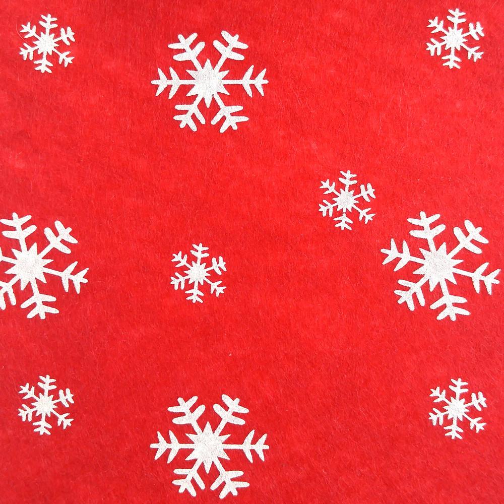 Фетр со снежинками жесткий 1 мм, 20x30 см, КРАСНЫЙ