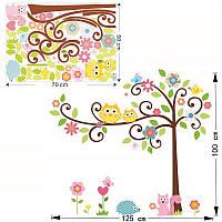 """Вінілова наклейка на стіну """"Дерево і дві сови"""""""