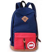 Школьный синий рюкзак с красным карманом