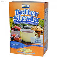 Стевия, BetterStevia, Zero Calorie Sweetener, Original, Now Foods, Нау Фудз, порошок, 100г, 100 пакетов
