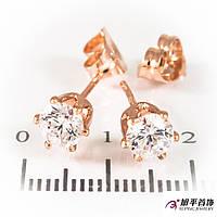 Серьги гвоздики с белым цирконием 5 мм