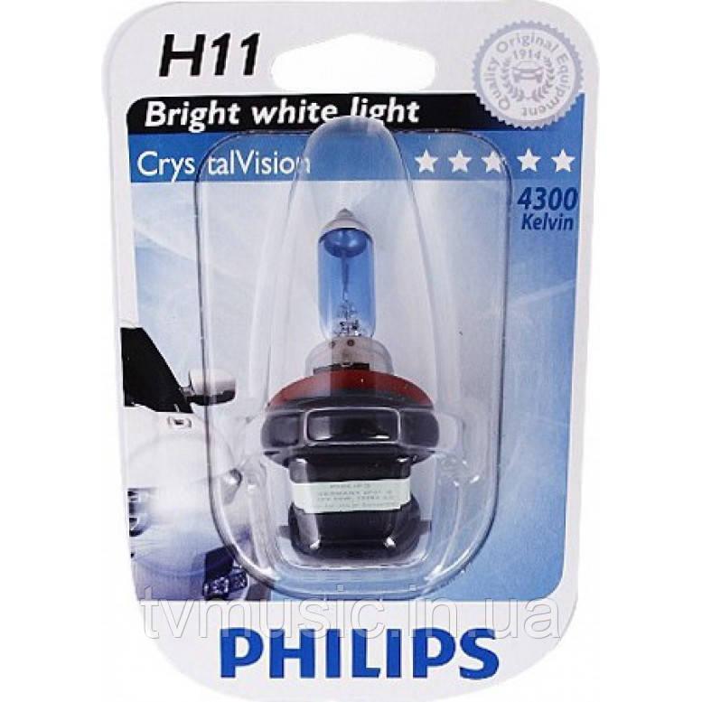 Галогенная лампа Philips CrystalVision H11 12V 55W (12362CVB1)