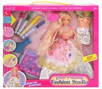 Кукла с длинными волосами 904: выдувные фломастеры, 2 платья-раскраски, расческа, коробка 35х33х6 см