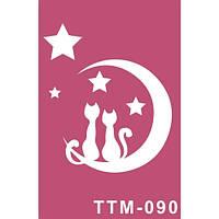 """Шаблон для нанесения временного тату """"Лунные котята"""""""