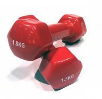 Гантели для фитнеса виниловые по 1,5кг пара