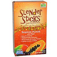 Стевия, Real Food, Slender Sticks, Tropical Punch with Fiber, Now Foods, Нау Фудз, порошок, 12 палочек по 5г