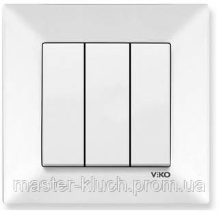 Выключатель трёхклавишный Viko Meridian