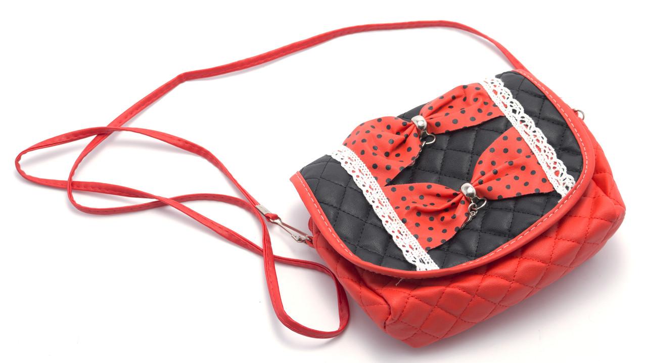 Аккуратная красная детская сумочка с бантиками Б/Н art. 2312