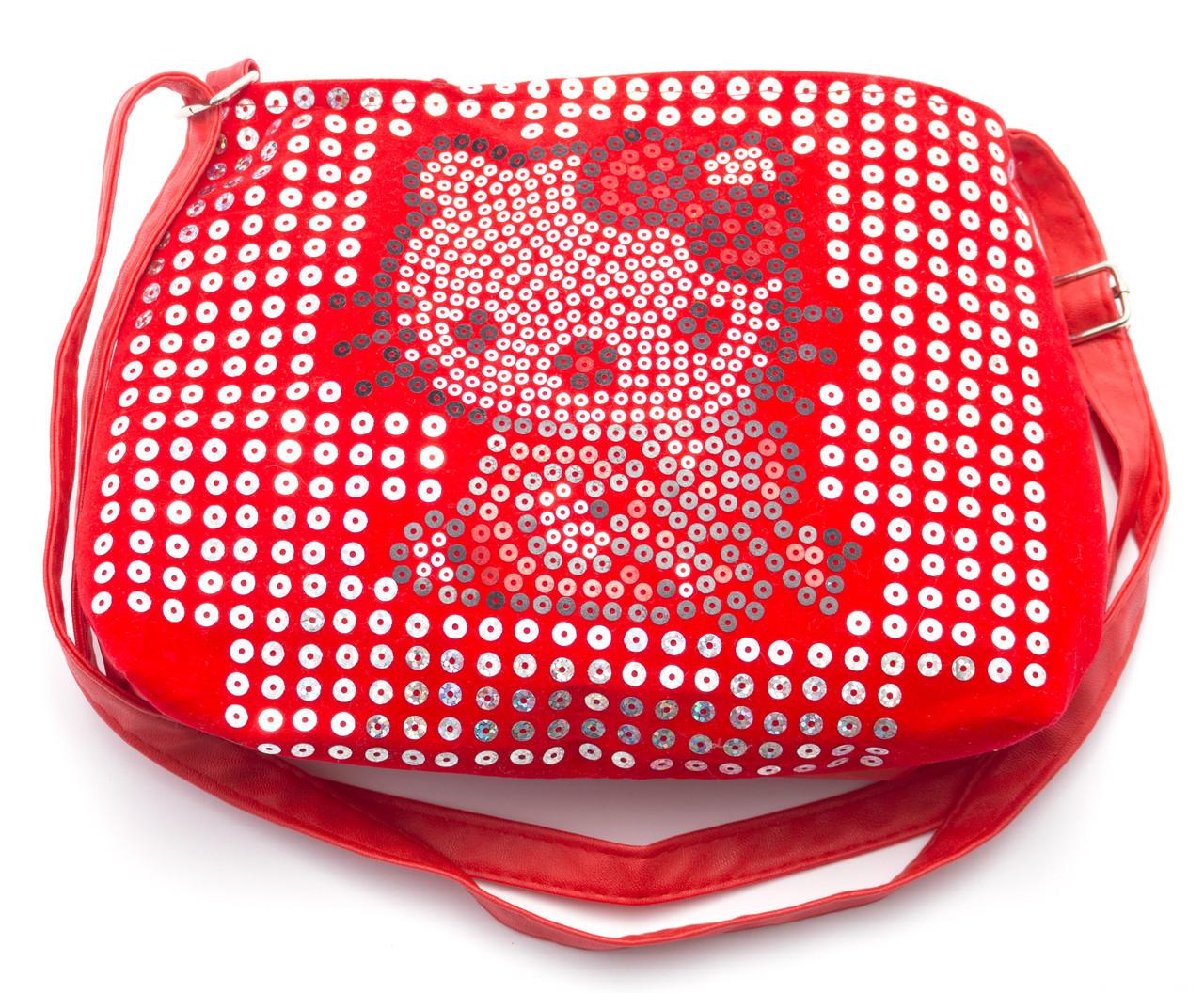 Красная детская сумочка Hello Kitty с пайетками Б/Н art. 150