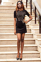 Стильное короткое черное платье Луиза   42-48 размеры Jadone