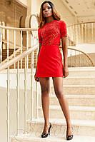 Стильное короткое красное платье Луиза   42-48 размеры Jadone