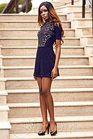 Стильное короткое темно-синее платье Луиза   42-48 размеры Jadone