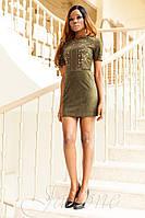 Стильное короткое  платье Луиза хаки   42-48 размеры Jadone