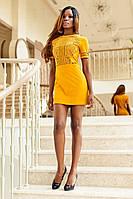 Модное Мини Платье Из Замши с Шикарной Перфорацией Горчичное р. S M L XL