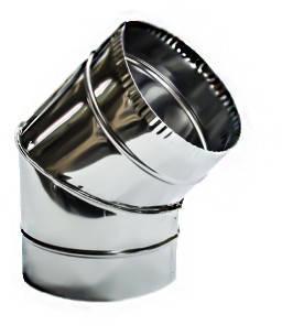 Колено нерж  для дымохода d=350 мм, 45, 0.8