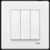 Выключатель 3-х клавишный KARRE белый
