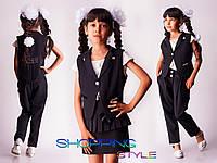 """Школьный костюм тройка жилетка для девочки """"Стиляшка"""" черный"""