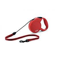 Поводок-рулетка для собак Flexi Classic Long M (Флекси) красная, трос 8м*20кг