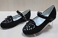 Замшевые черные туфли с бантиком на девочку тм BIKI р. 27,32