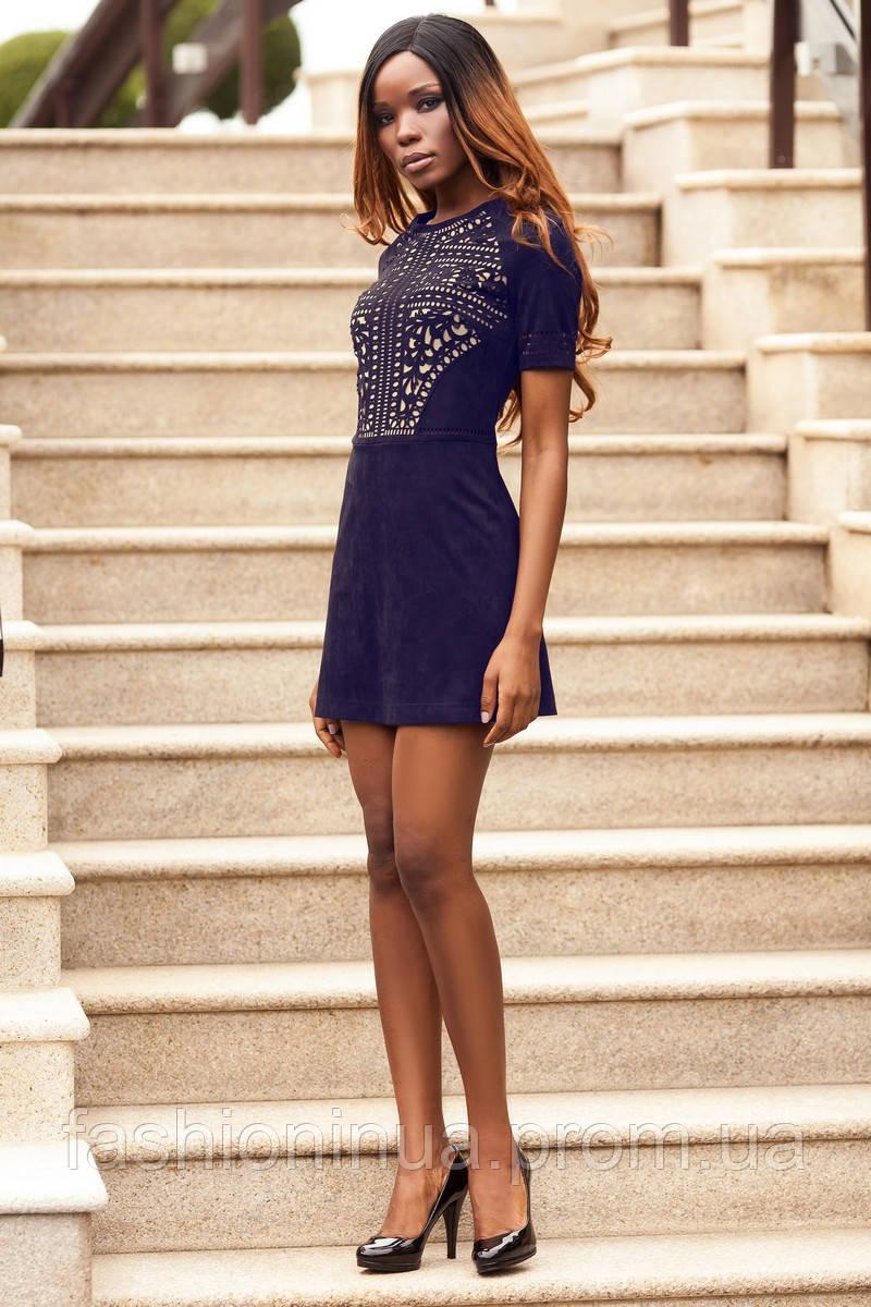 9d77d256af8 Модное Мини Платье Из Замши с Шикарной Перфорацией Темно-Синее р. S M L XL -