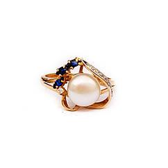 Золотое кольцо с сапфирами,бриллиантами и жемчугом р18