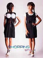 Школьный сарафан для девочки с поясом черный