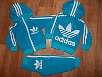Детский Спортивный Костюм Adidas Голубой Двойка с капюшоном   Рост 74-122 см