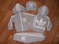 Детский Спортивный Костюм Двойка в стиле Adidas Серый с капюшоном Рост 74-122 см