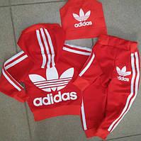 Детский Спортивный Костюм Adidas Красный Двойка с капюшоном   Рост 74-122 см