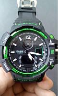 Часы наручные Casio g-shock GWA 1100 (черно-зеленые)