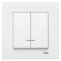 Выключатель 2-х клавишный с подсветкой KARRE белый
