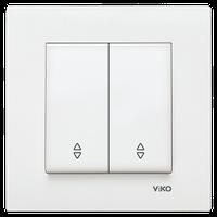 Переключатель 2-х клавишный проходной KARRE белый