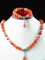 Набор украшений из агата ожерелье и браслет