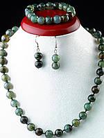Набор украшений из агата ожерелье, браслет, серьги