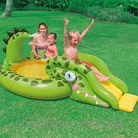 Водные аттракционы - Надувной бассейн с горкой Intex 57132 Крокодил (251х140х86 см.)
