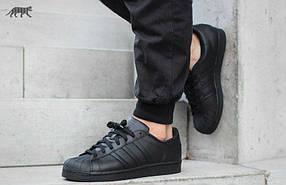 Мужские кроссовки Adidas Superstar All Black реплика