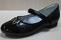 Лакированные черные школьные туфли для девочки р. 28,32