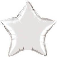 Шар фольгированный звезда серебро 44 см