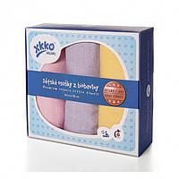 Пеленки детские хлопковые органические муслиновые  XKKO 90х100 3 шт. Разноцветные для девочки, фото 1