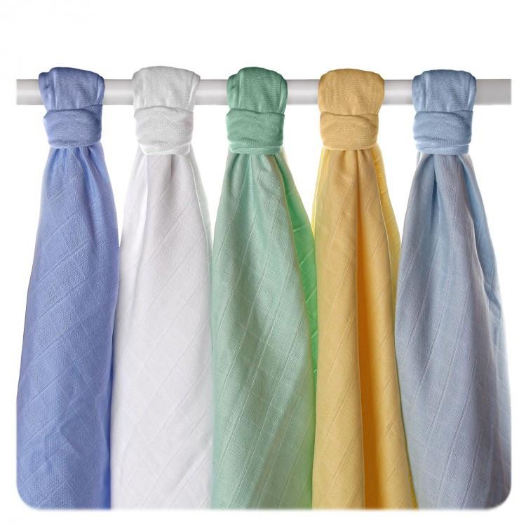 Пеленки хлопковые органические ,муслиновые   XKKO, 70х70 5 шт разноцветный для мальчика