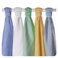 Пеленки хлопковые органические ,муслиновые   XKKO, 70х70 5 шт разноцветный для мальчика, фото 1