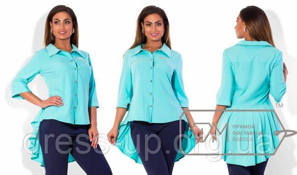 59e5b2ce850 Рубашка женская бирюзовая с хвостом АК -304 - Dress Up -интернет магазин