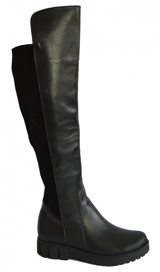 Женские высокие ботфорты на меху, кожа/замш