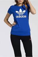 """Женская футболка спортивная  """"Adidas"""" синяя"""