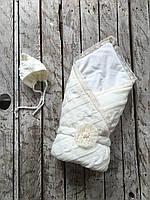 Набор вязаный Дует молочный на трикотаже, фото 1