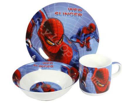 Детский набор посуды из керамики Человек Паук 3 предмета, фото 2