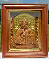 Икона деревянная резная Иисуса Христа (Господь Вседержитель)с сусальным золотом