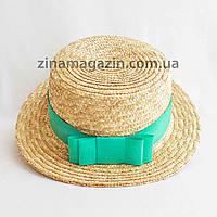 Шляпа канотье с мятной лентой