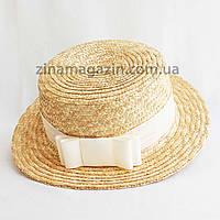 Шляпка канотье с кремовым бантиком