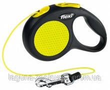 """Поводок-Рулетка """"Нью Классик Неон"""" для собак до 8кг Флекси XS, трос, 3м, черный/желтый"""